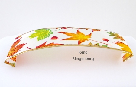 Folding the ends under for Wired Ribbon Bracelets - Tutorial by Rena Klingenberg