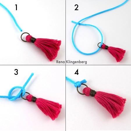 Como amarrar borlas nas pontas do colar para colar gargantilha Wrap - Tutorial de Rena Klingenberg