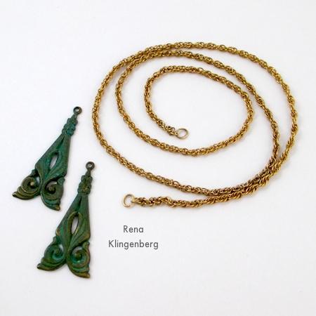 Componentes para colar gargantilha de embrulho - Tutorial de Rena Klingenberg