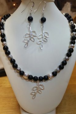 Onyx with Metal Bead Necklace and Earrings