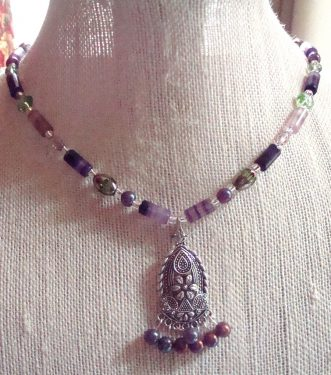 Fluorite Gemstone Beaded Necklace and Earrings