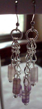 Fluorite Gemstone Beaded Earrings by Kathy Zee  - featured on Jewelry Making Journal