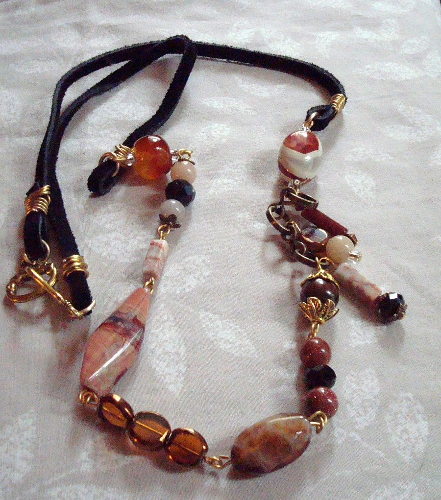 Mixed Bead Necklace with Leather