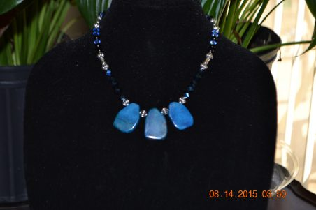 Blue Agate Necklace by Alison Holmes  - featured on Jewelry Making Journal