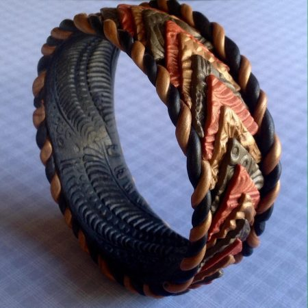 Polymer Clay Autumn Bangle by Patti Underwood  - featured on Jewelry Making Journal