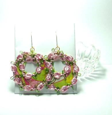 Flower hoop fabric earrings by Donna Westbrook  - featured on Jewelry Making Journal