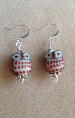 Ceramic Owl Earrings by Dawn  - featured on Jewelry Making Journal