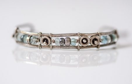 Aquamarine Cuff Bracelet Inspired by the Sea by Sonja  - featured on Jewelry Making Journal