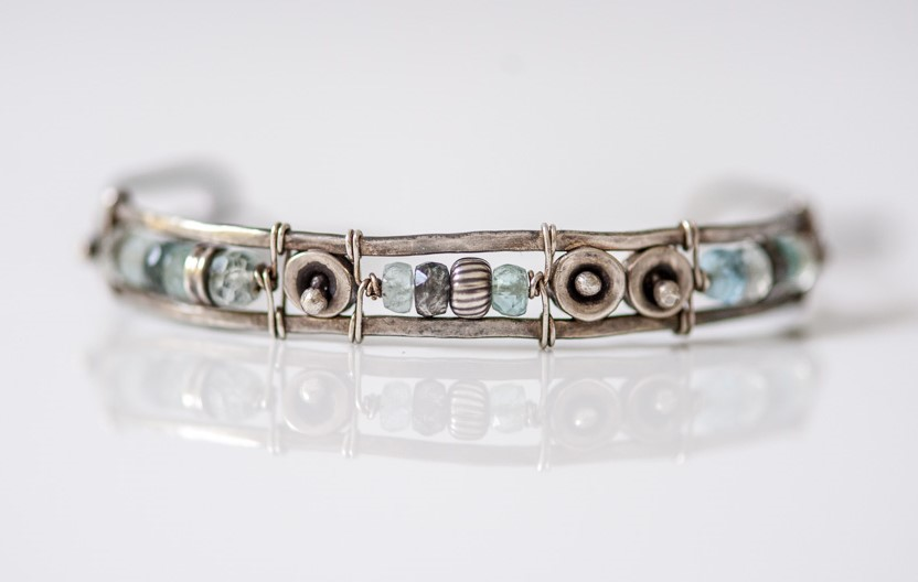 Aquamarine Cuff Bracelet Inspired by the Sea