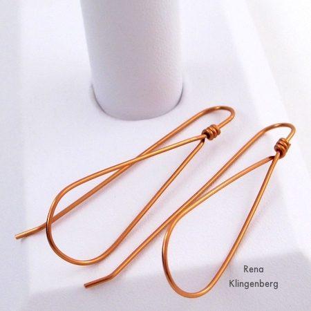 Wire Teardrop Hoop Earrings - Tutorial by Rena Klingenberg