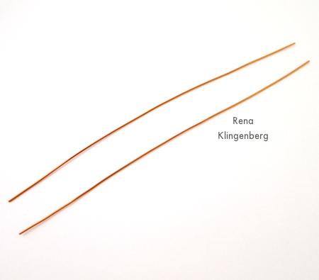 Cutting wires for Wire Teardrop Hoop Earrings - Tutorial by Rena Klingenberg