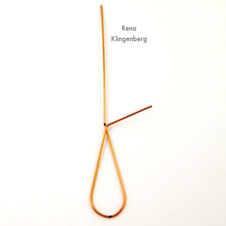 Wire wrapping for Wire Teardrop Hoop Earrings - Tutorial by Rena Klingenberg