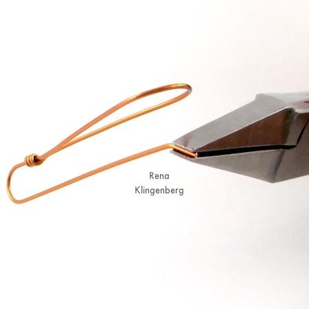 Shaping the earwire for Wire Teardrop Hoop Earrings - Tutorial by Rena Klingenberg