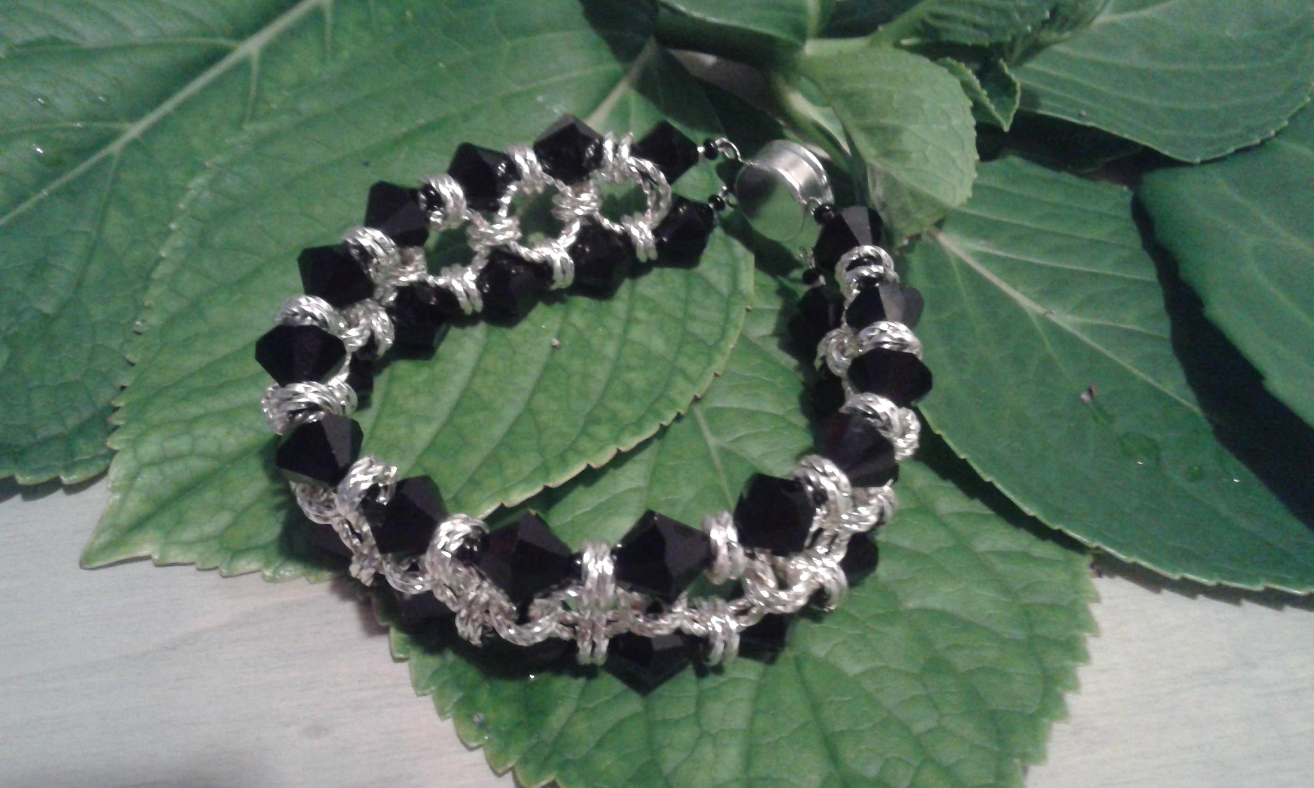 Chain Maille Bracelet with Swarovski Elements