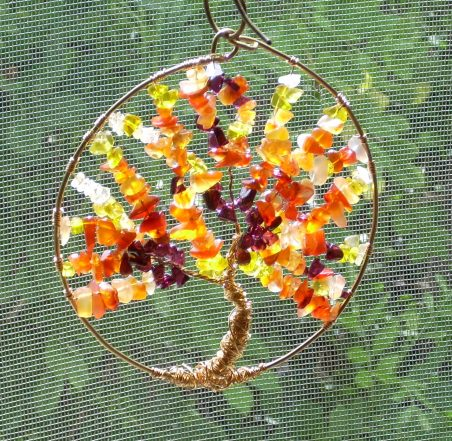 Autumn Tree of Life Suncatcher by Nancy Vaughan  - featured on Jewelry Making Journal