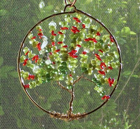 Spring Tree of Life Suncatcher by Nancy Vaughan  - featured on Jewelry Making Journal