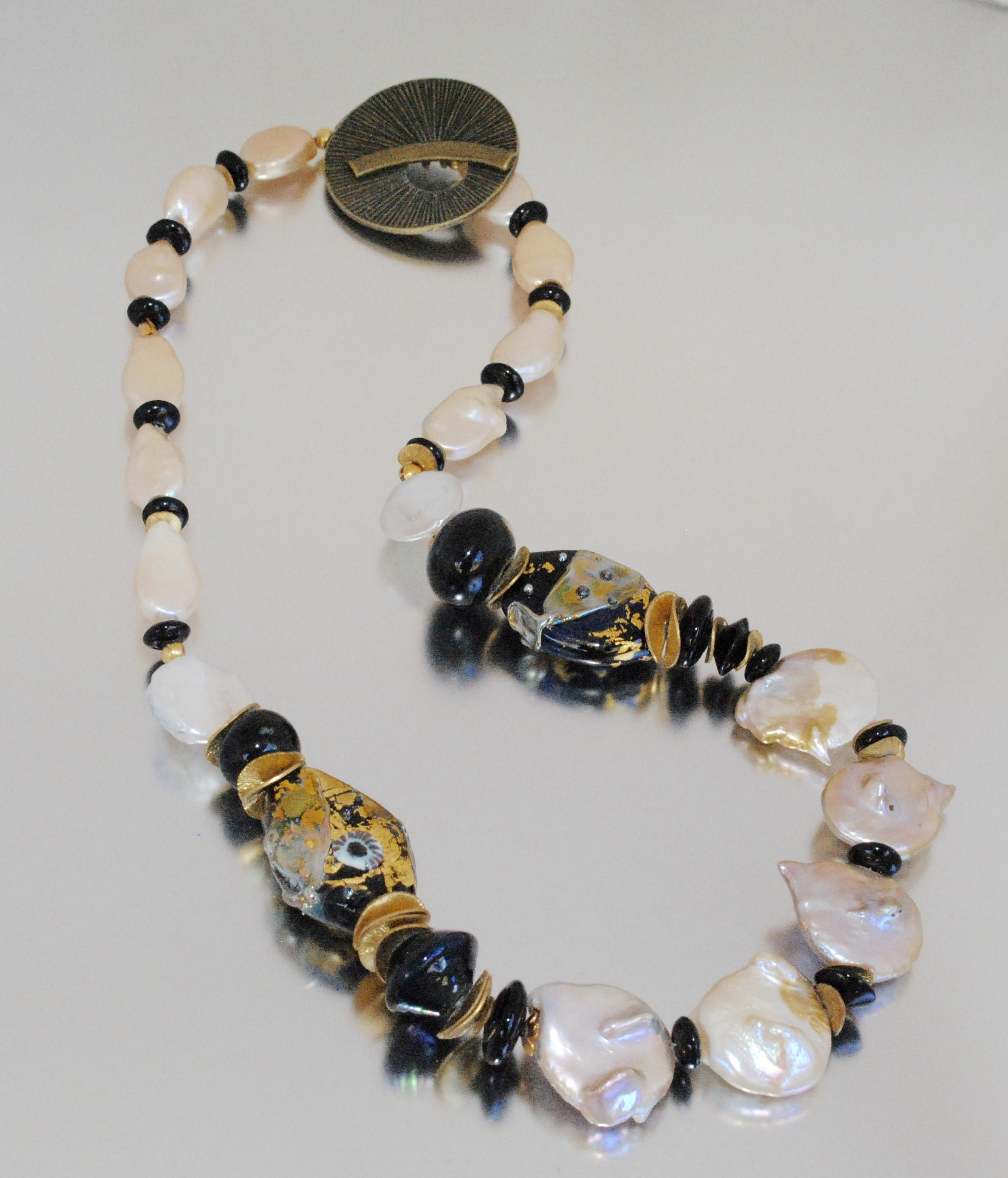 Black and Gold Leaf Handmade Glass Bead Necklace with Baroque Pearls