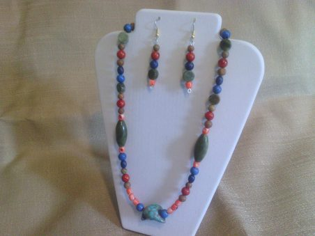 Unique Turquoise and Jungle Jasper Beaded Necklace by Patricia Whitelow  - featured on Jewelry Making Journal