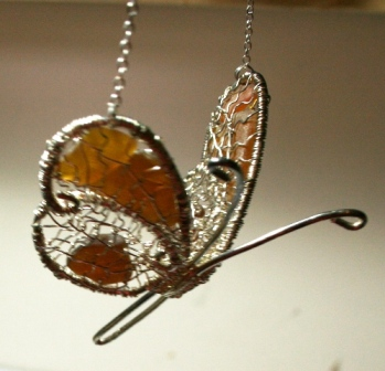 Butterfly Sea Glass Necklace by Marion Jackson  - featured on Jewelry Making Journal