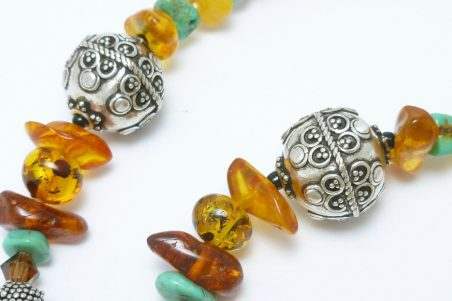 Neckace with Baltic Amber and Kingman Arizona Turquoise by Diane Schamp  - featured on Jewelry Making Journal
