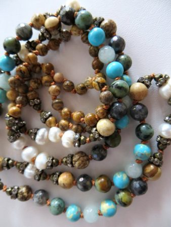 108 Long Gemstone Mala Bead Necklace by Holly Louen  - featured on Jewelry Making Journal