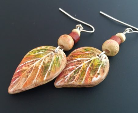 Hand Colored Polymer Clay Leaves Earrings by Jackie Bessner  - featured on Jewelry Making Journal