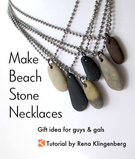 Make beach stone necklaces gift idea for guys and gals jewelry make beach stone necklaces tutorial by rena klingenberg mozeypictures Gallery