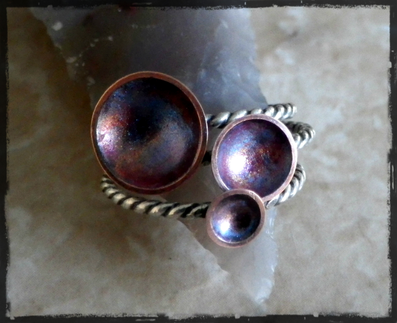 Nebula Etched Copper and Sterling Stacking Rings
