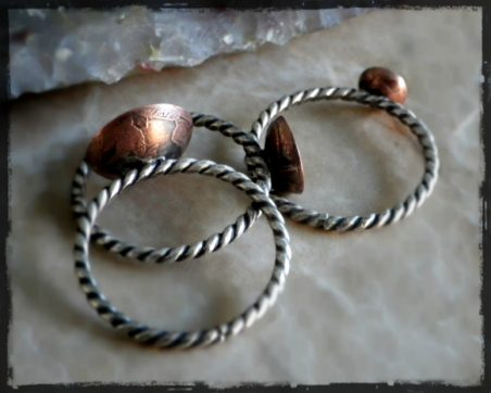 Nebula Etched Copper and Sterling Stacking Rings by Janice Root  - featured on Jewelry Making Journal