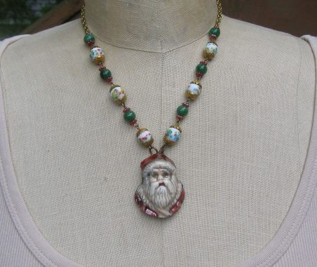 Old World Santa Pendant created by Harry Wood; Necklace created by Ingrid Anderson  - featured on Jewelry Making Journal