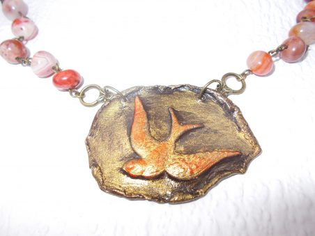 Air Dry Clay Bird Pendant by Jennie McIntyre  - featured on Jewelry Making Journal