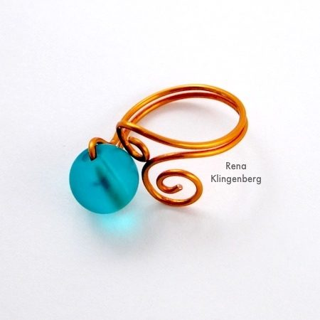 Bead and Scroll Adjustable Wire Ring - Tutorial by Rena Klingenberg