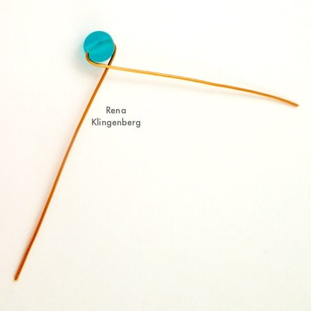 Crossing wires for Bead and Scroll Adjustable Wire Ring - Tutorial by Rena Klingenberg