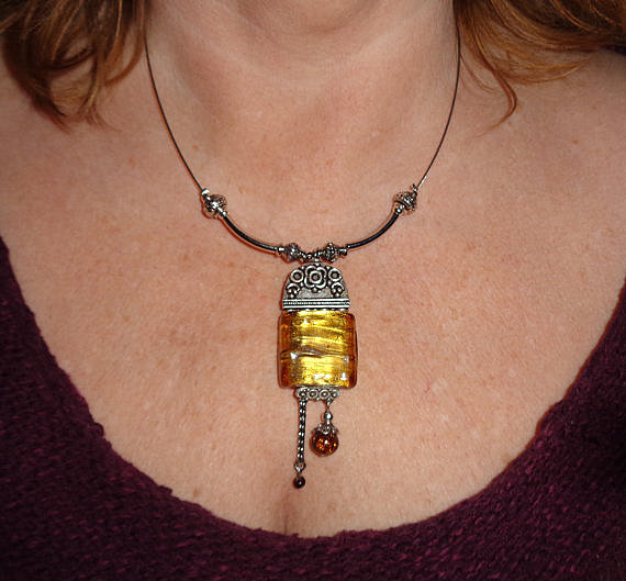 Vintage Glass and Silver Necklace