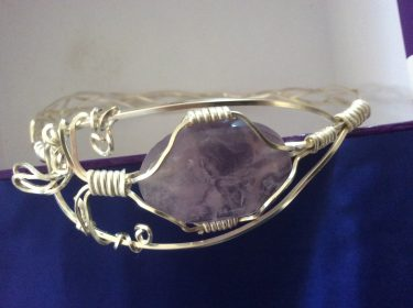 Amethyst and Silver Wire Bracelet