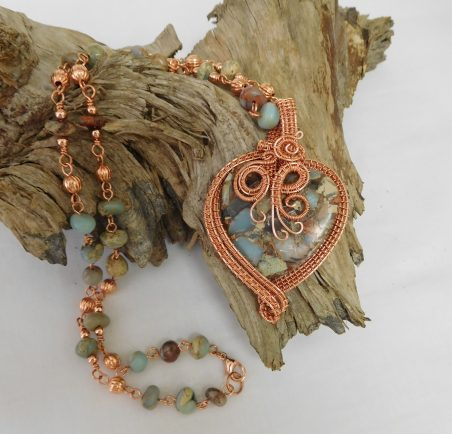 Jasper Heart Necklace by Regina Pickering  - featured on Jewelry Making Journal