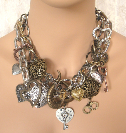 Unchain My Heart Chunky Charm Necklace by Linda Tenney  - featured on Jewelry Making Journal