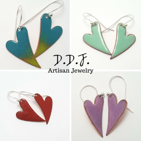 Enamel over copper earrings by Dianne  - featured on Jewelry Making Journal