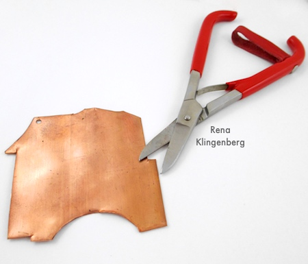 Metal shears for Rugged Scrap Metal Necklace - Tutorial by Rena Klingenberg