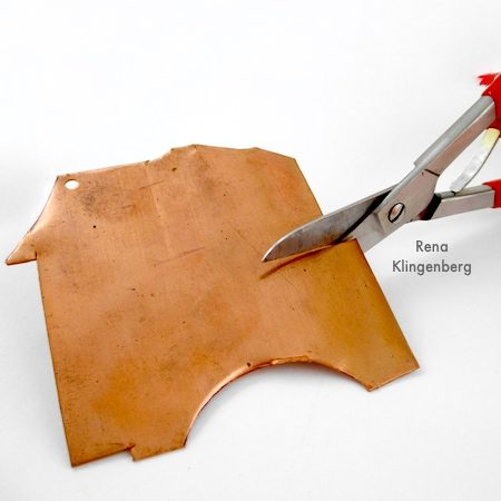 Cutting copper sheet for Rugged Scrap Metal Necklace - Tutorial by Rena Klingenberg