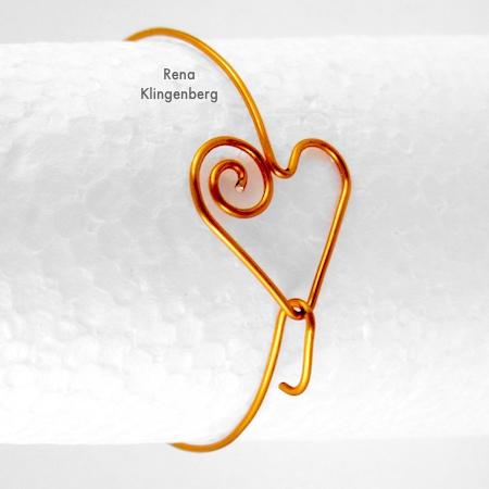 Spiral Heart Wire Bracelet - Tutorial by Rena Klingenberg