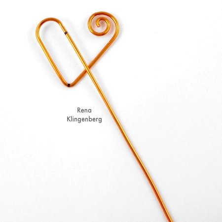 Shaping wire for Spiral Heart Wire Bracelet - Tutorial by Rena Klingenberg