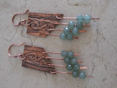 Copper and Wire Earrings