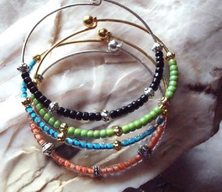 Four Bangle and Beaded Friendship Bracelets by Kathy Zee  - featured on Jewelry Making Journal