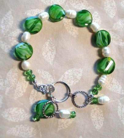Green Faceted Glass and Pearl Beaded Bracelet by Kathy Zee  - featured on Jewelry Making Journal