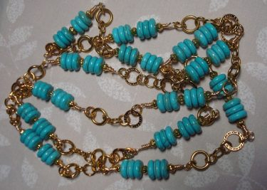 Wire Wrapped Beaded Necklace with Chain