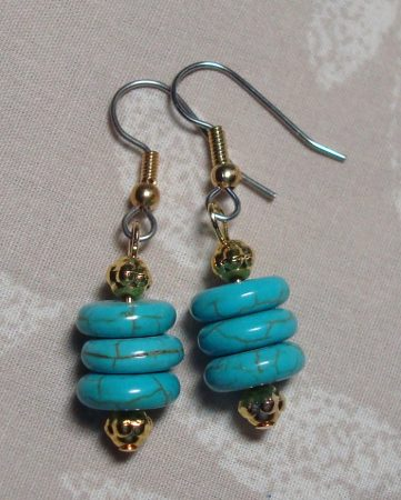 Turquoise earrings to match the necklace by Kathy Zee  - featured on Jewelry Making Journal