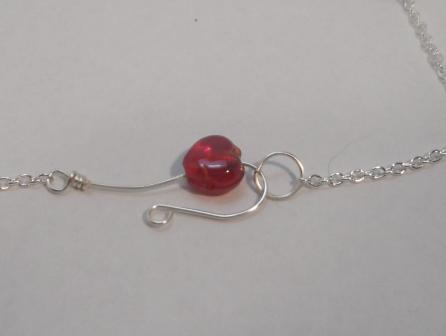 Clasp detail of Sweetheart Silver and Red Heart Necklace by Teresa Rusk  - featured on Jewelry Making Journal