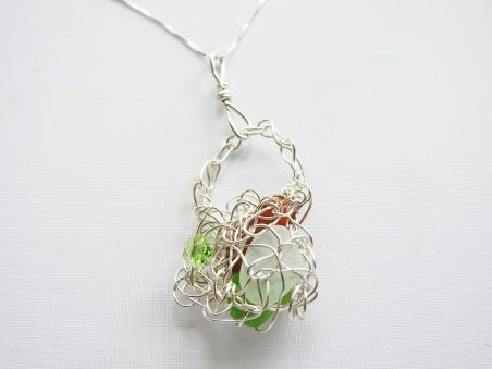 Wire Crocheted Sea Glass Basket Pendant  by Jean Forman of Lucky Sea Glass Jewelry  - featured on Jewelry Making Journal
