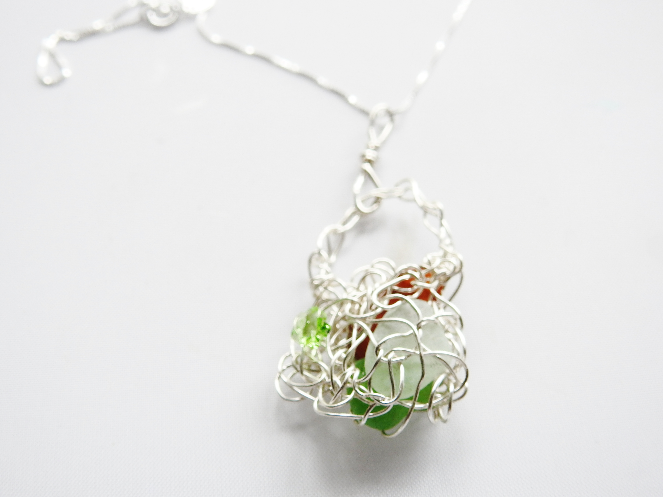 Wire Crocheted Sea Glass Basket Pendant